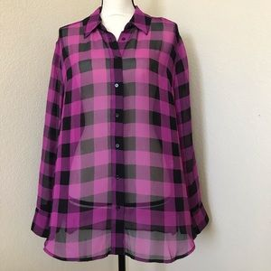 Lane Bryant Purple Checkered Print Sheer Blouse